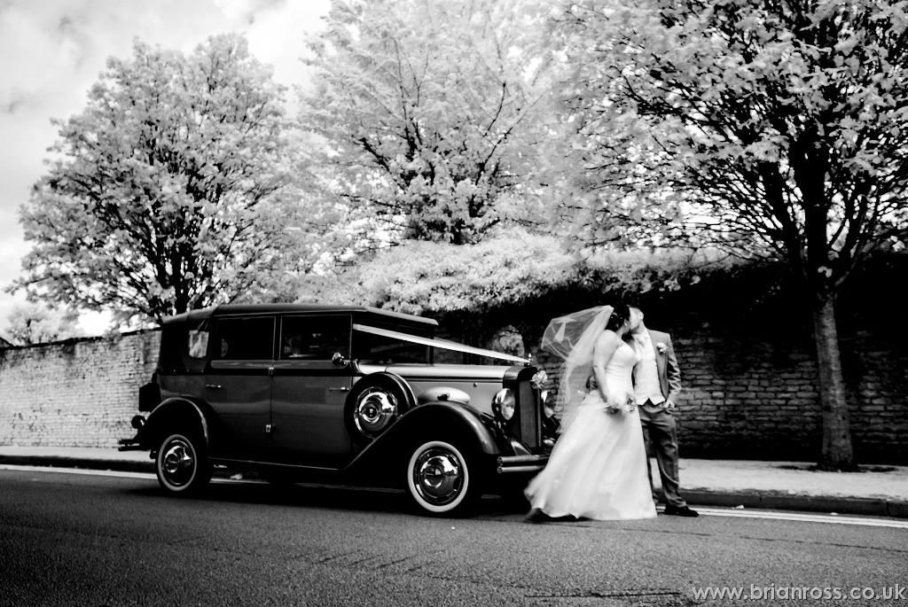 Wedding car bride groom